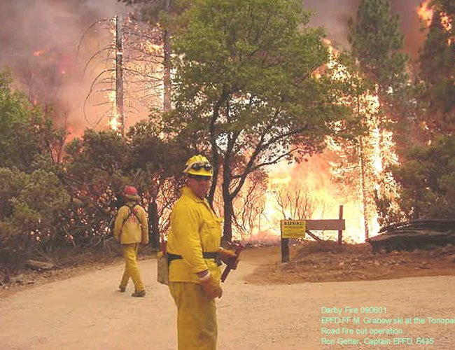 CDF Crew in front of Darby Fire 09/06/2001